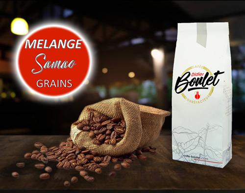 Mélange Samao Grains de café et paquet de café Didier Boulet