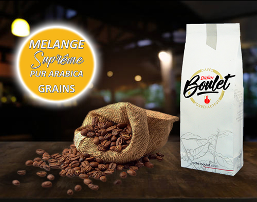 Mélange Supreme Grains de café et paquet de café Didier Boulet