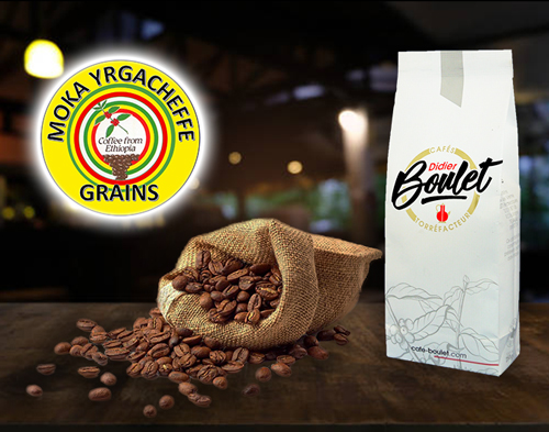 Moka Yrgacheffe Grains de café et paquet de café Didier Boulet