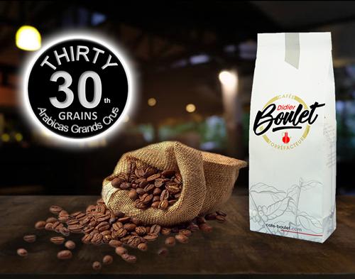 Mélange Thirty Grains de café et paquet de café Didier Boulet