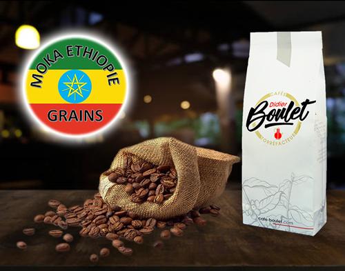 Moka d'Ethiopie Grains de café et paquet de café Didier Boulet