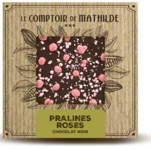 Tablette Chocolat Noir – Pralines Roses