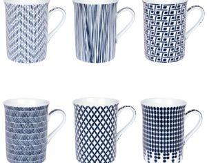 Coffret de 6 mugs indigo 30 cl